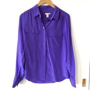 ❄️J. Crew Purple 100% Silk Button Down Blouse Sz 6